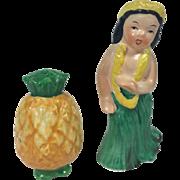 SOLD Hawaiian Lady Hula Dancer & Pineapple  Salt & Pepper Shakers