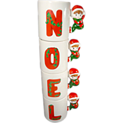 SALE Christmas NOEL Elf / Pixie Stacking Christmas Mugs