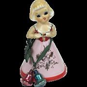 SALE Vintage Enesco Japan Ceramic Christmas / Valentine Girl Bell