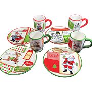 SOLD Darling Vintage Christmas Plates & Mugs — Set of 4