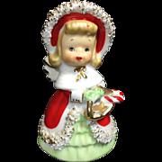 SOLD Lefton Ceramic Christmas Angel Bell w Basket of Treats