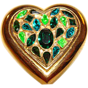 SOLD Yves Saint Laurent ~ YSL Emerald Green Crystal Heart Powder Compact ~ WOW!