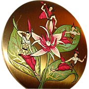 Vintage Vogue Vanities Oriental Ladies ~ Siam ~ Powder Compact ~ Most Unusual!