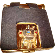 Paul Flato Old Fashioned Horse Carriage w/Driver Powder Compact with Matching Lipstick in Paul
