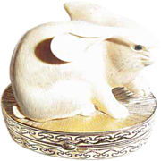 SALE Estee Lauder Ivory Series Lucky Rabbit Solid Perfume Compact ~ Year 1983 ~