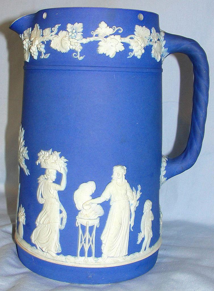 Vintage English Wedgwood ceramic dark blue Jasperware pitcher