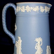SALE Antique Wedgwood ceramic light blue Jasperware pitcher / jug