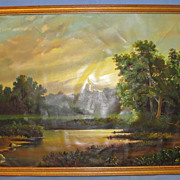 SALE 1991 Russian Oil Painting on canvas Original frame