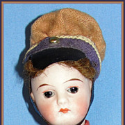 "All Original Antique 6"" German Bisque Doll Dressed as Soldier"