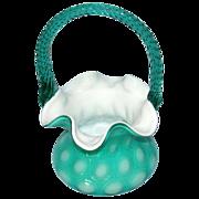 SALE Vintage Fenton Art Glass Coin Spot Basket