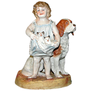 Antique Bisque Figurine: Little Girl & Her Pets ca 1880 - Big and Adorable!