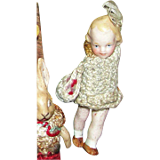 Antique Hertwig All Bisque Goldilocks Miniature Doll