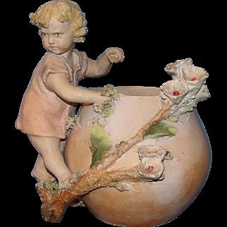 SALE Rare and Unique! Antique European Terracotta Child figure by flower pot: probably Austrian