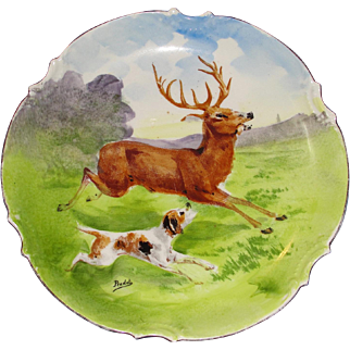 SALE Antique Hand Painted Artist Signed Limoges Display Porcelain Plate Hunting Scene