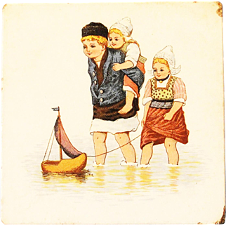 SALE Antique German Tea Trivet Tile with Dutch Scene from the 1880's