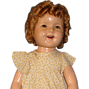 "Big 1930's Ideal 27"" Composition Flirty-Eye Shirley Temple Doll"