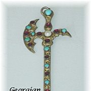 Rare Georgian Antique Scottish Halberd Pendant with Garnets Turquoise and Pearl