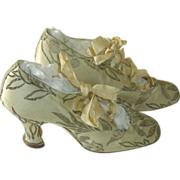 SOLD Antique French Silk Satin Wedding Shoes with Silver Metallic Thread