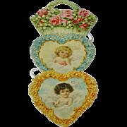 SOLD Vintage Die Cut Embossed Hanging Angels