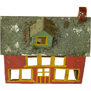 Folk Art Hand Made Tin Red House