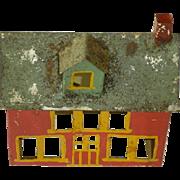 Folk Art Hand Made Tin Red House