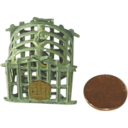 SOLD Doll House Miniature Bird Cage with Gold Gilt Bird on Perch - Red Tag Sale Item