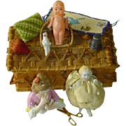 SOLD Antique Doll Sewing Items in Sewing Basket