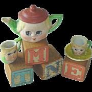 SOLD Vintage Googly Eye Bisque Tea Set