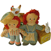 Vintage Hand Made Raggedy Ann and Andy Miniature Dolls c1930-1940