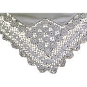 SOLD Vintage Linen Tablecloth with Hand Made Fine Irish Crochet Lace Trim
