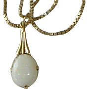 Art Deco Opal 14K Pendant on 10K Gold Box Chain