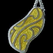 Modernist Sterling Silver Enamelled Enamel Pendant on Sterling Chain Necklace