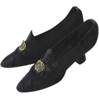 Antique Edwardian Flapper Silk Brocade Black Evening Shoes 1919