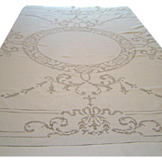 Vintage Linen Tablecloth with Hand Done Appenzell and Napkins