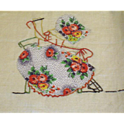 Vintage Linen Tea Towel with Hand Made Sun Bonnet Baby