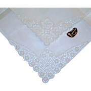 Vintage Pair Swiss Hankies with Mint with Tag