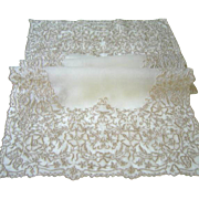 SOLD Vintage Organdy Runner with Lace Edge