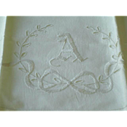 "SOLD Vintage Linen Monogram ""A"" Pillow Case"
