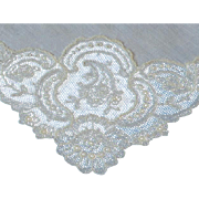 Vintage French Net Lace Sheer Linen Wedding Hankie Hanky