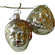 SOLD Vintage Boy and Girl Face Christmas Ornaments