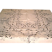 Vintage Large Linen Madeira Tablecloth with Embroidery Butterflies and Twelve Napkins