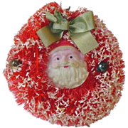 SOLD Vintage Bootle Brush Wreath with Celluloid Santa