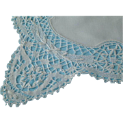 Vintage Linen Runner with Deep Lace Edge