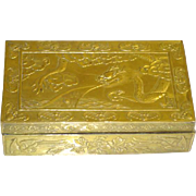 Art Deco Chinese Fire Breathing Dragon with Five Toes and Bats Brass Cigarette Box