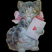 Vintage Large Kitten Mechanical Valentine