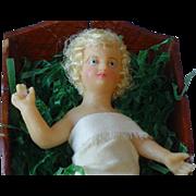 Antique German Wax Baby Jesus in Cradle