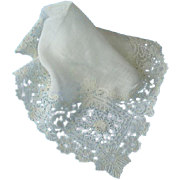 Antique  Wedding Brussels Point de Gaze Lace Handkerchief Hankie Hanky