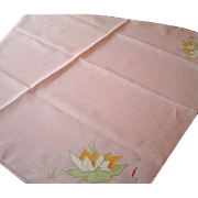 Vintage Pink Linen Deco Summer Tablecloth