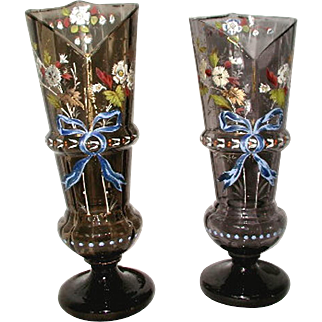 Hand Blown Vases 19th Century Hand Painted