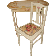 Vanity & Chair France C.1900 Hand Painted Quaint